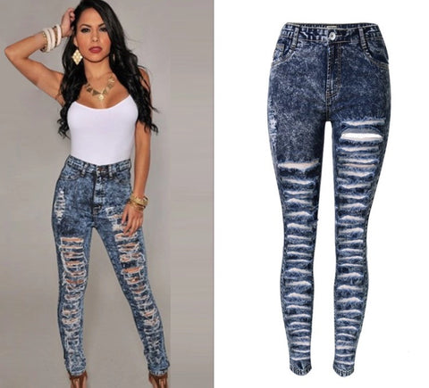 Copy of Slim Fit Onyx Hearts Femme Distressed Denim Pants