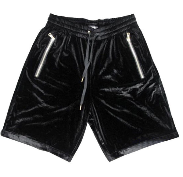 Velvet Drawstring Onyx Hearts Shorts Black