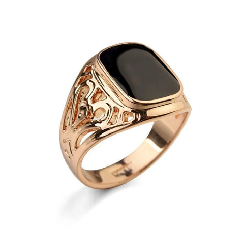 El Duce Onyx Ring Rose Gold