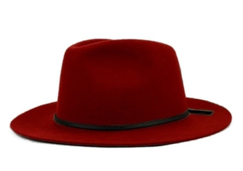 Wide Brim Fedora with Leather Band Red