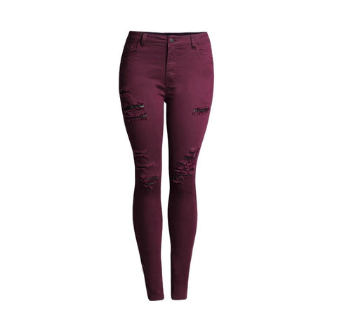 Slim Fit Onyx Hearts Femme Wine Red Pants