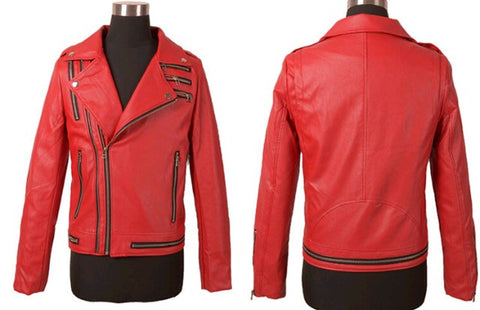 Leather Streetwear Jacket with Multiple Zippers Red