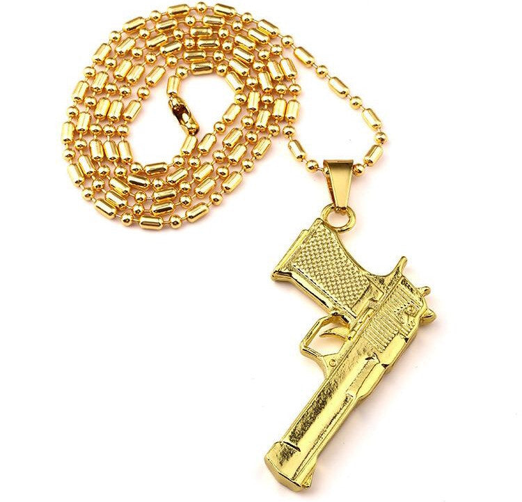 Desert Eagle Pendant and Chain Gold