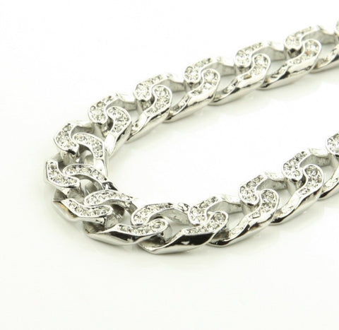 Cuban Ducé Link Iced Out Chain Silver