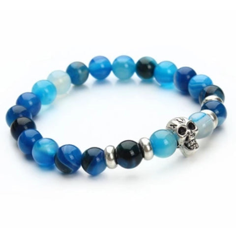 Beaded Onyx Hearts Skull Bracelets Blue
