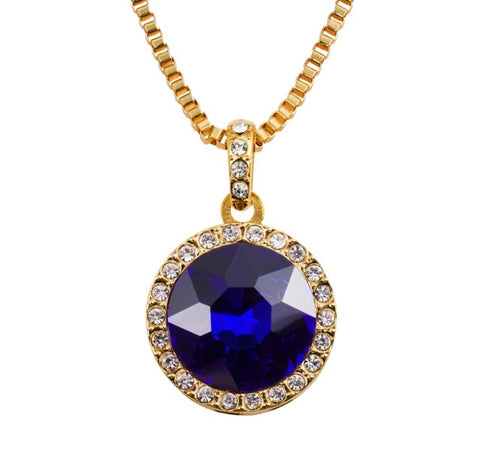 Blue Circular Ruby Pendant & 18K Gold Chain