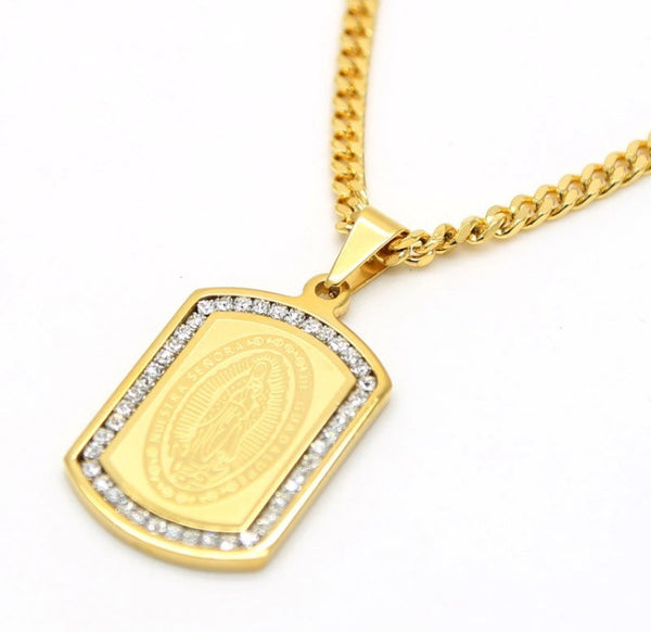 Iced Out 18K Gold Plated Virgin Mary Dog Tag Chain