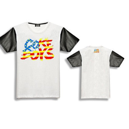 Coke Boys USA Leather Sleeve T-Shirts White