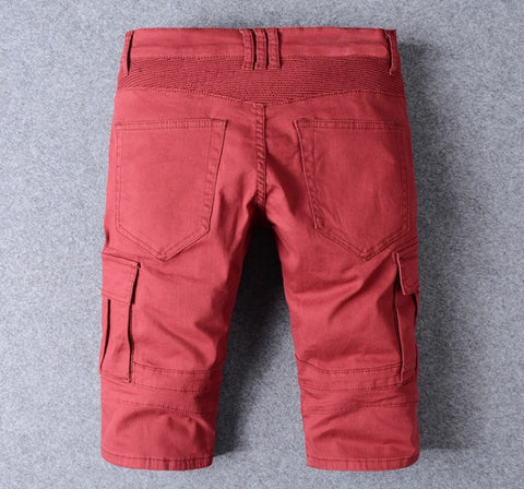 Red Denim Stretch Biker Jean Shorts
