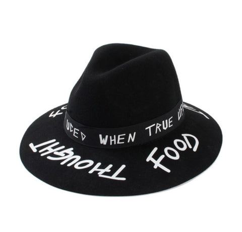 Graffiti Style Wide Brim Fedora Graffiti Band