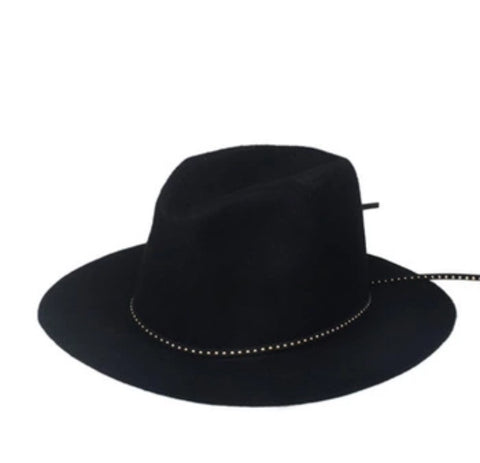 Classic Fedora with Leather Band Black
