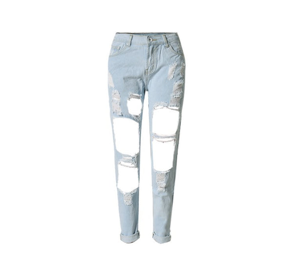 Onyx Hearts Femme Distressed Hole Light Blue Jeans