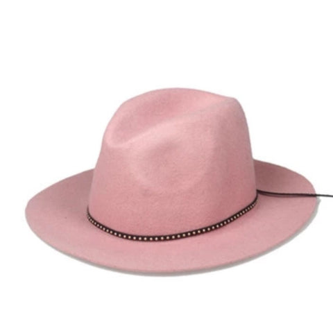 Classic Fedora with Leather Band Pink