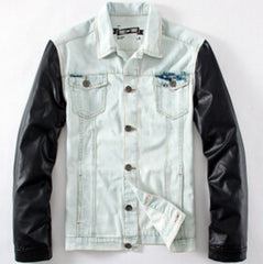White Denim Jacket with Leather Sleeves