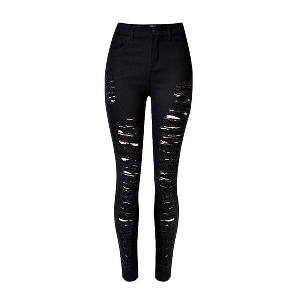 Slim Fit Onyx Hearts Femme Distressed Black Pants