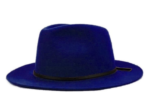 Wide Brim Fedora with Leather Band Blue