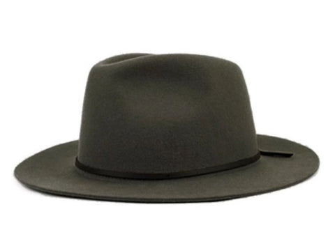 Wide Brim Fedora with Leather Band Grey