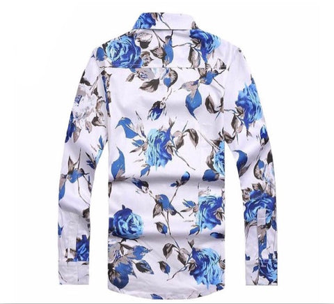 Miami Roses Button Up Shirt Blue