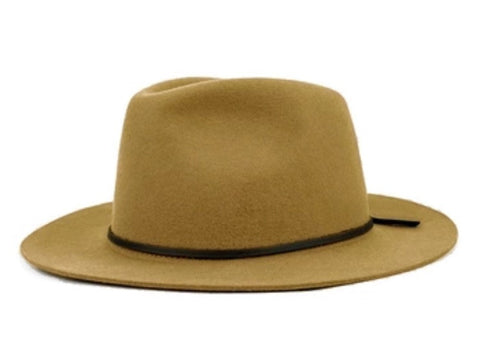 Wide Brim Fedora with Leather Band Khaki