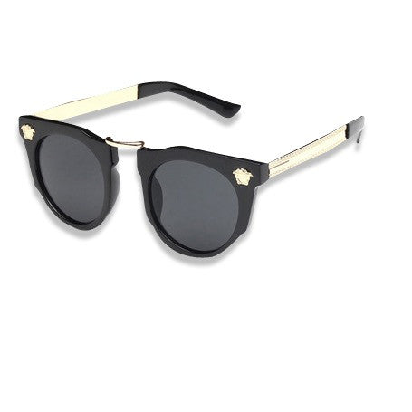 Dope Metal Head Sunglasses Black Gold Dark Lense