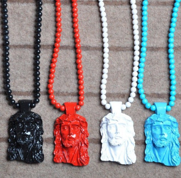 Wooden Jesus Piece Streetwear Necklace