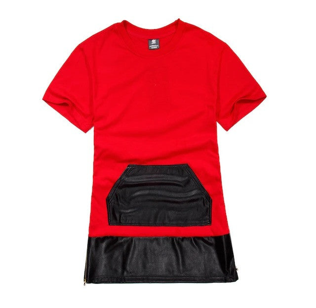 Cotton + Leather Extended Side Zipper Shirts Red