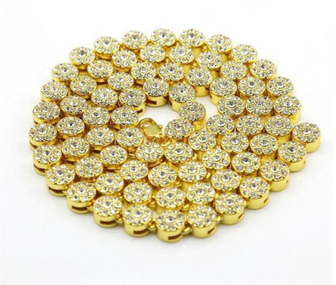 Circle Link Iced Out Chain Gold