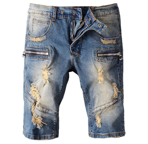 Denim Distressed Biker Jean Shorts