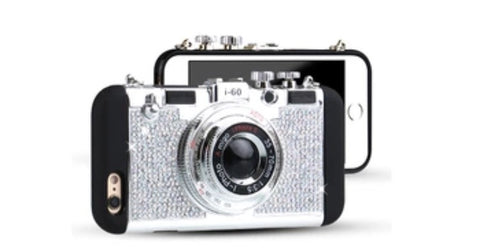 Blinged Retro Camera iPhone Case Silver