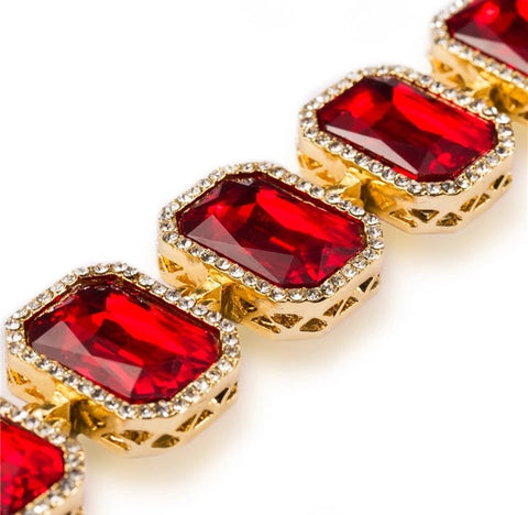 Iced Out 18K Gold Ruby Bracelet