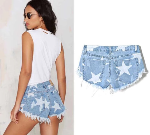 Femme Denim Star Cut Off Shorts