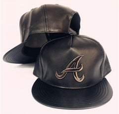 Atlanta Braves Leather Hat with Gold Pendant