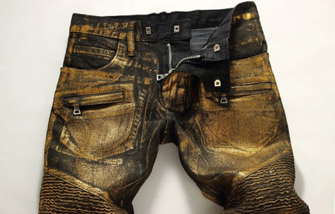 Black Gold Denim Biker Jeans