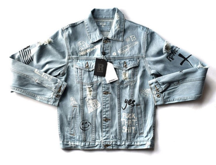 Graffiti Onyx Hearts Denim Jacket Blue