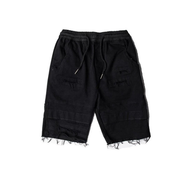 Ripped Onyx Hearts Drawstring Shorts Black