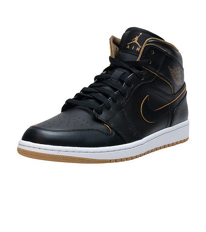Air Jordan 1 Mid Black Metallic Gold Whites