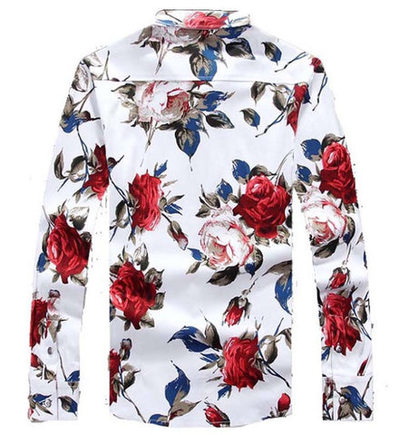Miami Roses Button Up Shirt Red