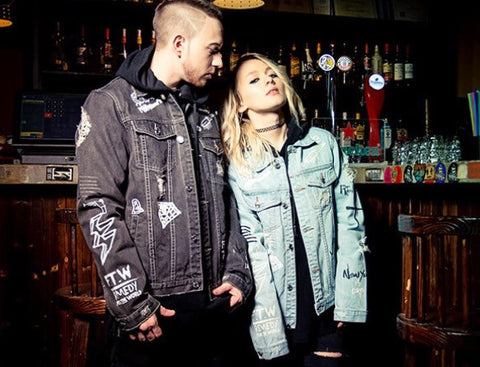 Graffiti Onyx Hearts Denim Jackets
