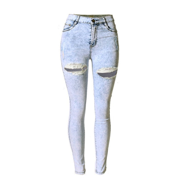 Slim Fit Onyx Hearts Femme Distressed Washed Denim Pants