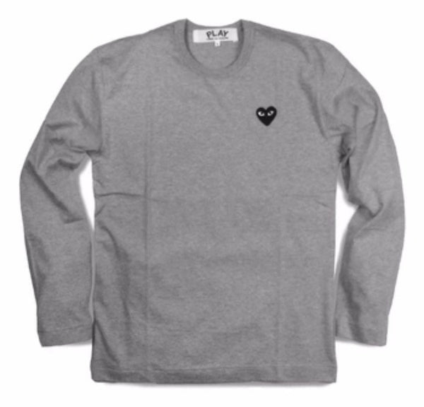 COMME Des GARÇONS PLAY Long Sleeve Black Heart Shirt Grey