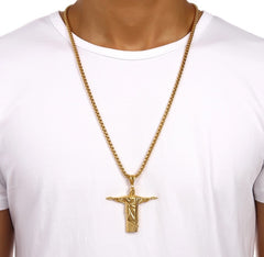 Brazilian Christ Redeemer 18K Gold Plated Necklace