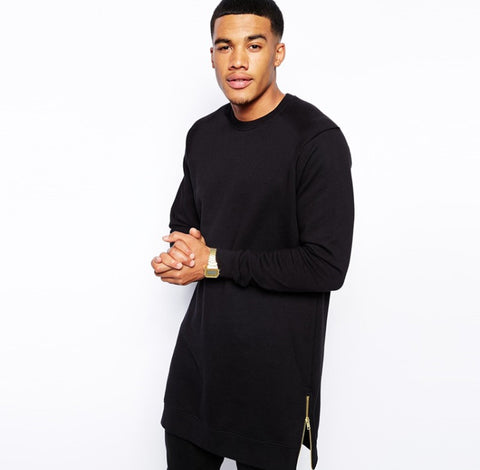 Black Long Sleeve Extended Shirt w/ Gold Side Zippers