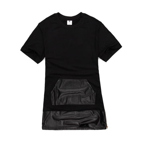 Cotton + Leather Extended Side Zipper Shirts Black