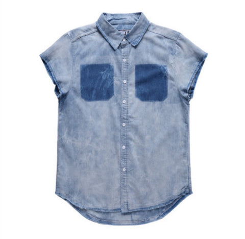 Denim Tie Dye Kanye West Style Shirt Blue