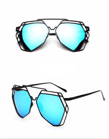 Street Fly Polygonal Mirrored Sunglasses Style 4