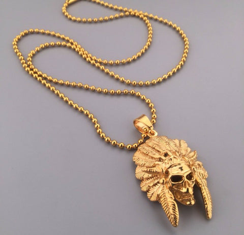Skull Tribe Chiefin 18k Gold Necklace