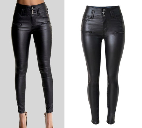 Onyx Hearts Femme Faux Leather Pants