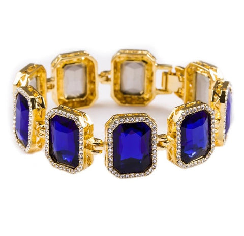 Iced Out 18K Gold Ruby Bracelet Blue