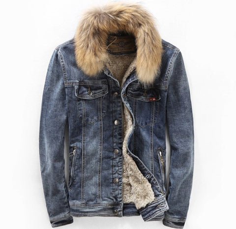 Denim Lined Jacket with Fur Collar Front