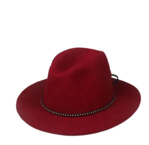 Classic Fedora with Leather Band Wine